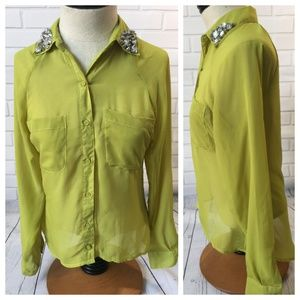 Chartreuse Hi-Lo Blouse with Gem Embellishments
